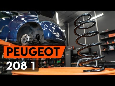 How to replace front springs / front coil springs on PEUGEOT 208 1 (CA_,CC_) [TUTORIAL AUTODOC]