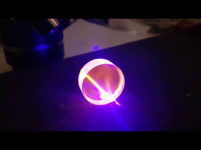 Blue Laser on Samarium doped glass.