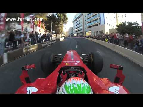 F1 2013 - Ferrari - On board (front camera) with Fisichella - Demo in Jerusalem