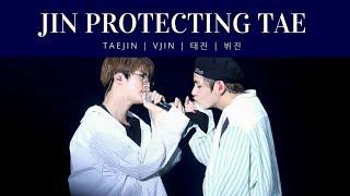 Jin protecting Taehyung taejin vjin