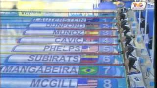 Michael Phelps vs Cavic 100m butterfly (49'82) new world record FINA world championships 2009