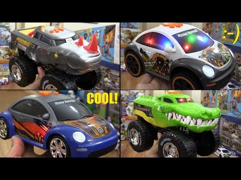 Awesome Toy Cars! Road Rippers' Crocodile and Rhino Wheelie Monster Trucks + Beetle Cars!