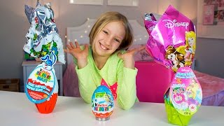 Opening Kinder Surprise Eggs, Kinder Maxi Eggs, Dinsey Princess egg and Toys