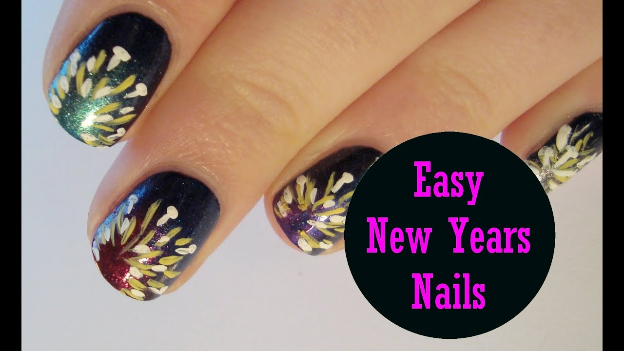 Easy New Years Nails ♥ Simple Firework Explosion Inspired Nail Art ...