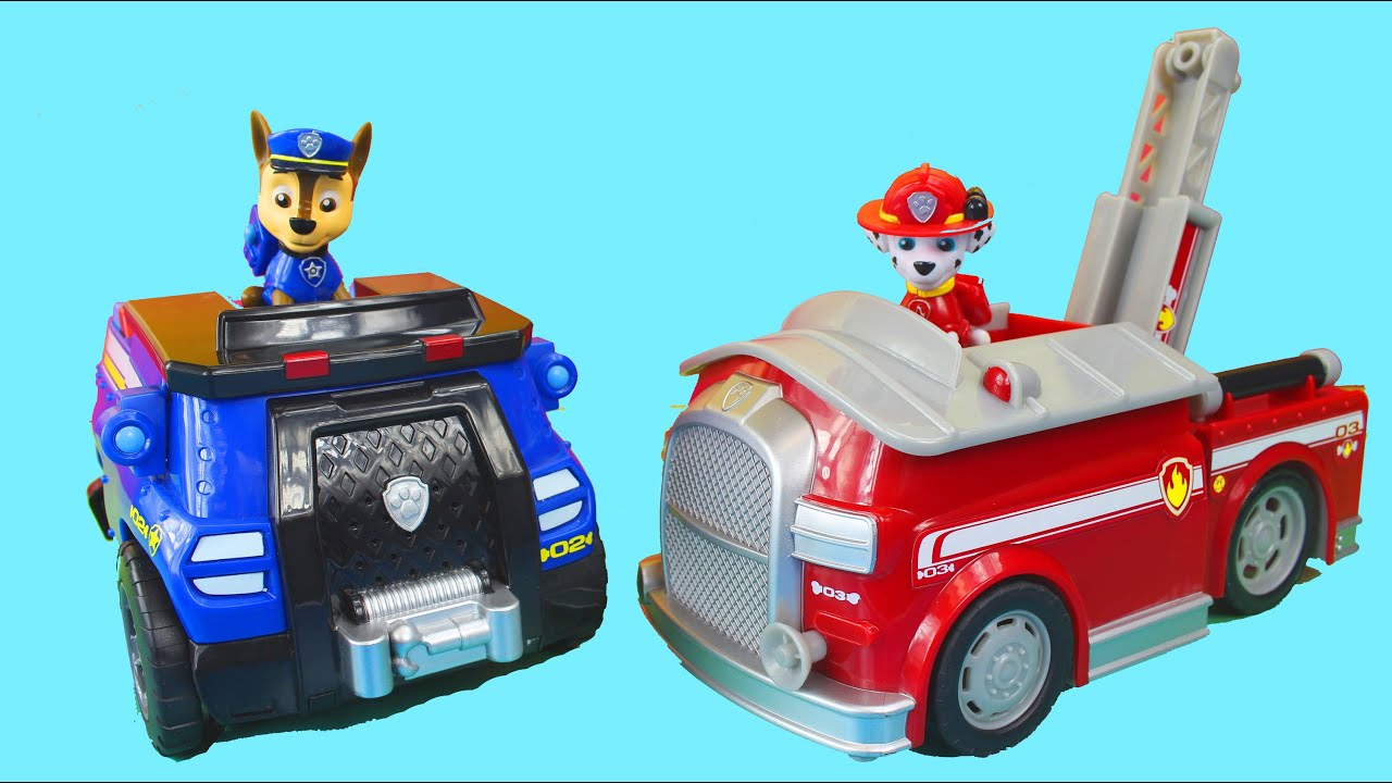 Paw Patrol On A Roll Chase Police Car Marshall Fire Truck Transforms And Rolls