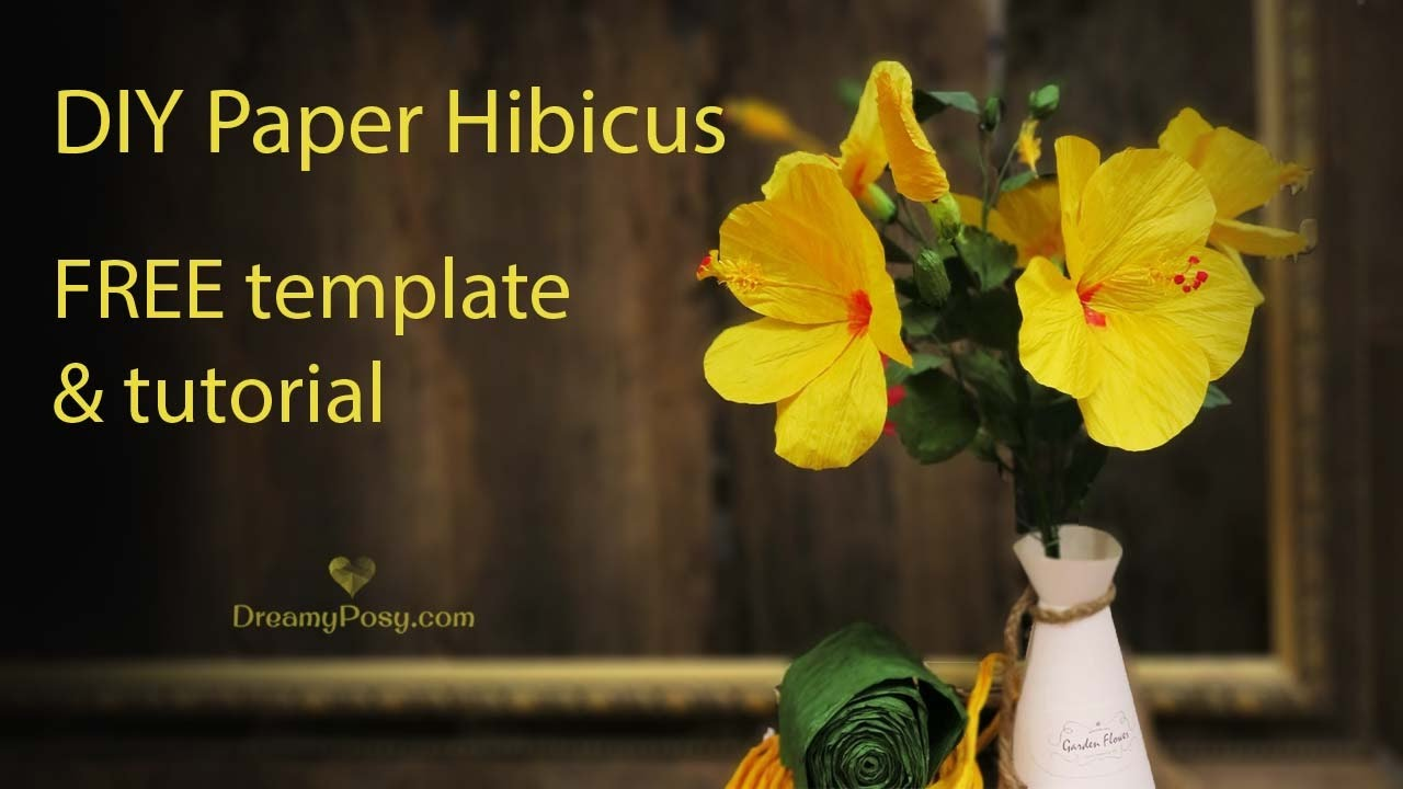 Free Template How To Make Paper Hibiscus Flower Youtube