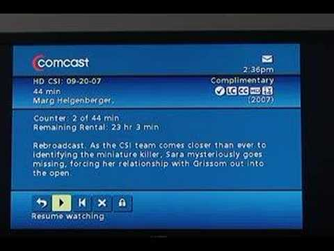 Swanni tv comcast 39 s hd on demand youtube for Tv on demand