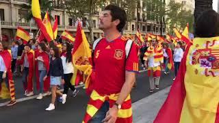 Miles de manifestantes unionistas, en la Diagonal de Barcelona