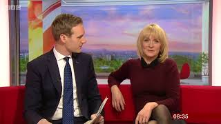 Louise Minchin   Tight Burgundy Top and Black Tights!!!