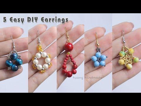 5 Easy DIY Earrings Design || 5 min craft || Handmade jewelry || Jewellery making