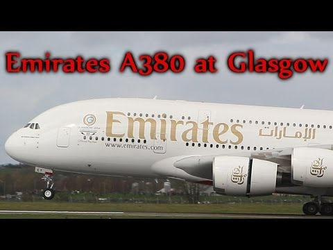 FIRST EVER! Emirates A380 SuperJumbo Go-around, Landing & Takeoff at Glasgow Airport FULL HD