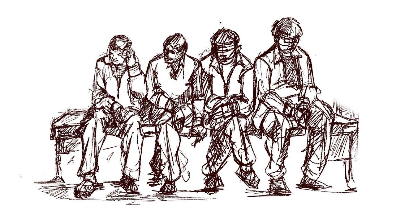 Human figure drawing people group live sketching
