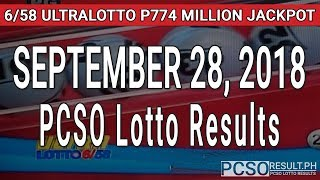 PCSO Lotto Results Today September 28, 2018 (6/58, 6/45, 4D, Swertres, STL & EZ2)