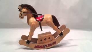 Rocking Horse Wooden Enesco Music Box Rocks When Playing
