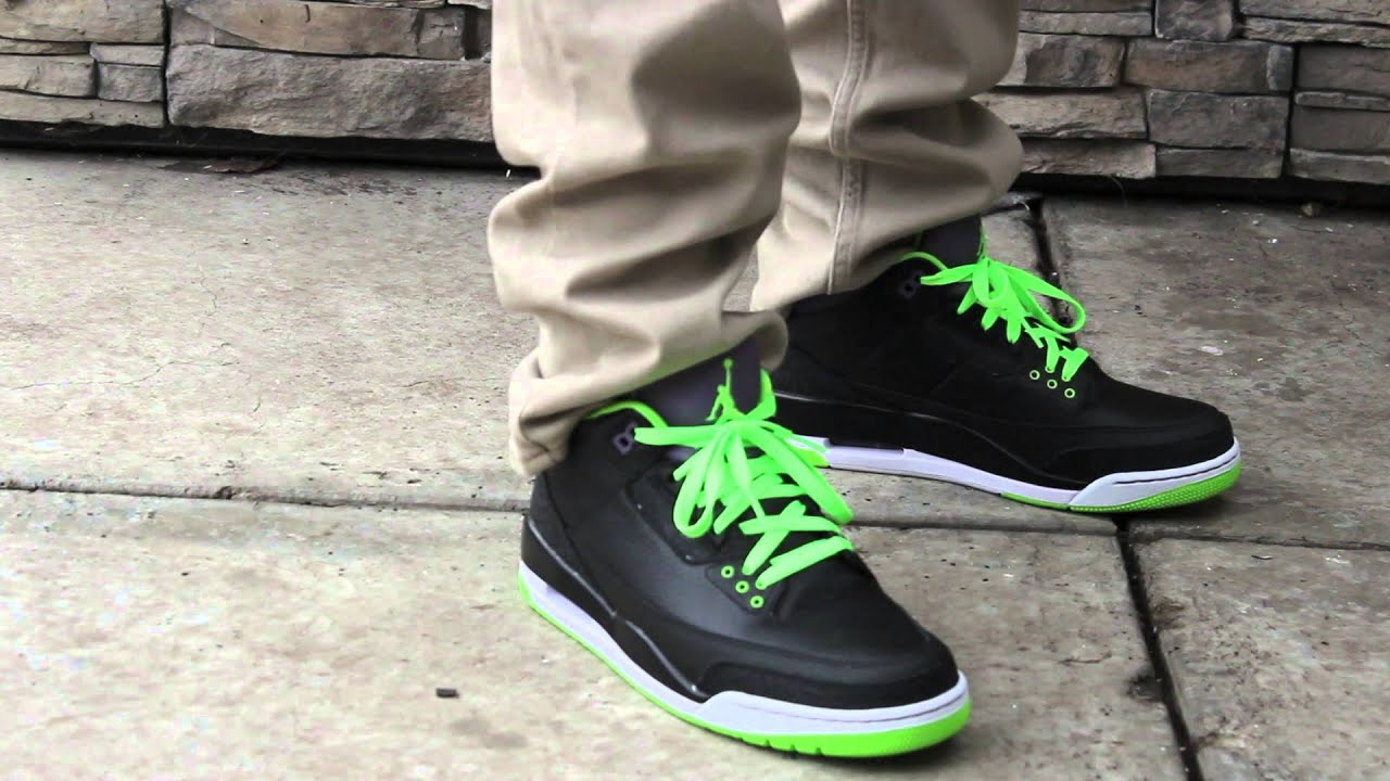 b3173859923c Nike Air Jordan Retro 3 Joker WITH NEON On Feet  HD  - YouTube