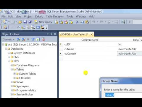 Create Database with SQL Server for POS with C#
