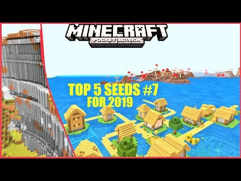 Minecraft PE - TOP 5 SEEDS For 2019 #7 ! WATER VILLAGE, MUSHROOM BIOME & MORE !   MCPE 1.1