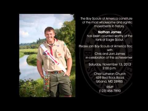 Eagle Scout Invitations Template Free YouTube – Eagle Scout Invitation Cards