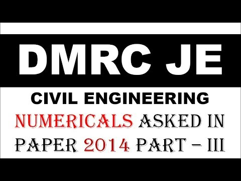(हिंदी) Numerical asked in DMRC 2014 FULL PAPER CIVIL ENGINEERING Part -3