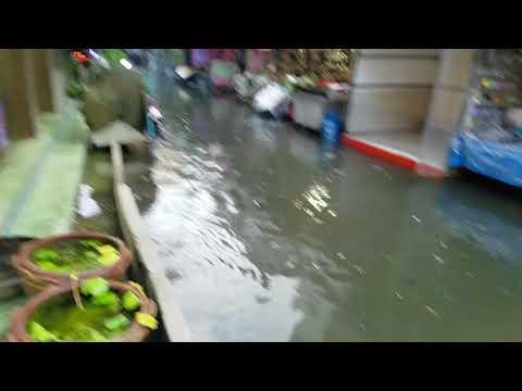 Bangkok Market Flooding After Rain