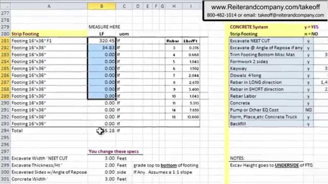 template for estimates construction