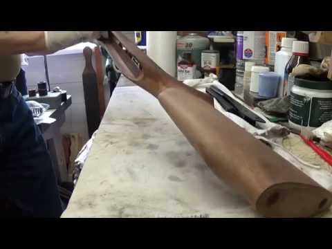 Staining gun stock after stripping down