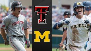 #8 Texas Tech vs Michigan College World Series Clinching Game | College Baseball Highlights