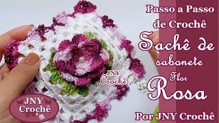 Sachê de sabonete de crochê Flor Rosa