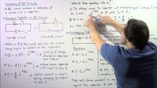RC Circuits, Charging Capacitors, Discнaring Capactiors and Equations