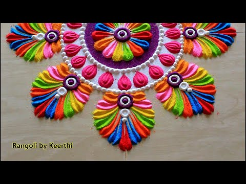 हैप्पी होली रंगोली L Happy Holi Rangoli L Holi Special Rangoli Designs With Colours L Rangoli