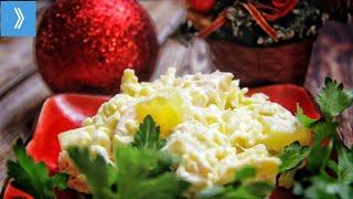 Оригинальный новогодний салат с ананасом из 4-х продуктов!