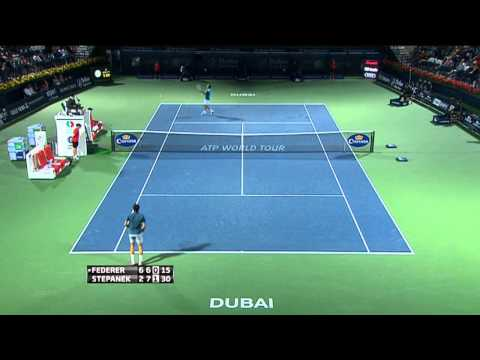 Stepanek's Diving Hot Shot vs. Federer In Dubai 2014