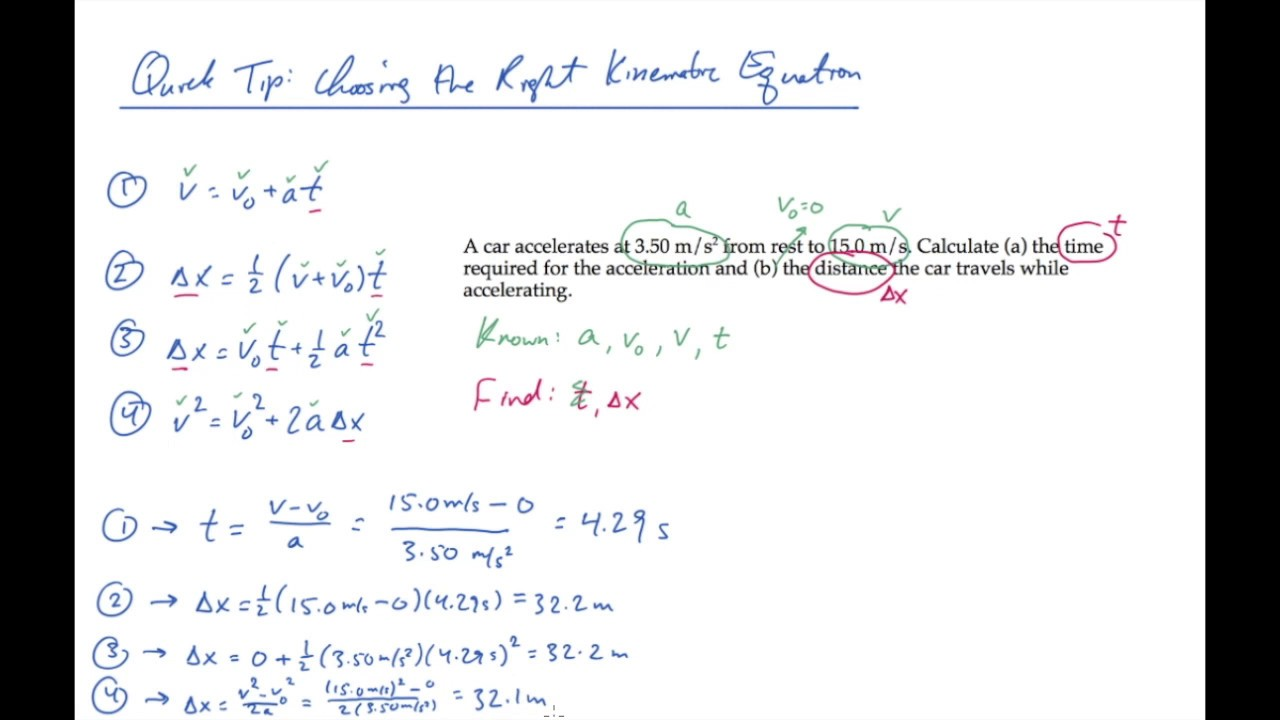 Quick Tip: Choosing the Right Kinematic Equation - YouTube
