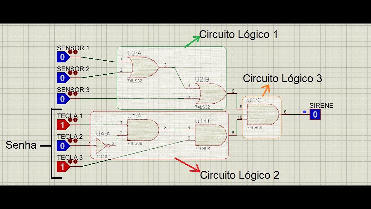 Circuito Not : Circuito simulando sistema de alarme com senha