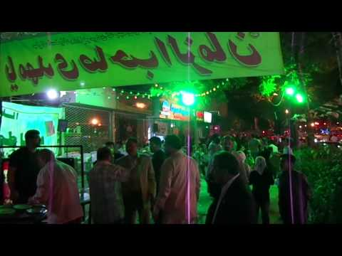 Celebrations in Mashhad streets by night, Iran