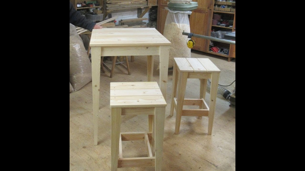 steh oder bartisch aus palettenholz youtube. Black Bedroom Furniture Sets. Home Design Ideas