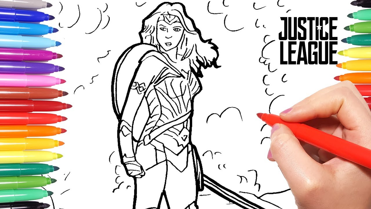 Justice League Coloring Pages | How to draw Wonder Woman from ...