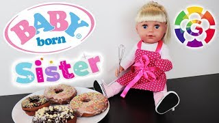 Baby Born Sister doll  Baking Donuts in the kitchen