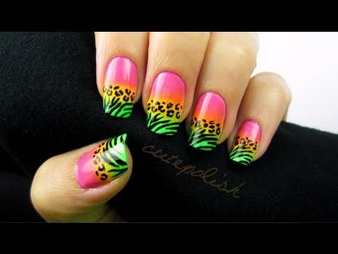 Wild Neon Animal Print Nail Art