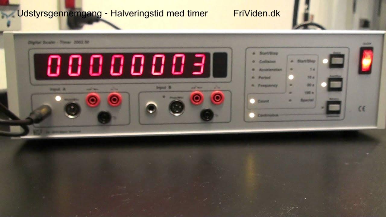 Udstyrsgennemgang: Halveringstid af radioaktivt stof med timer