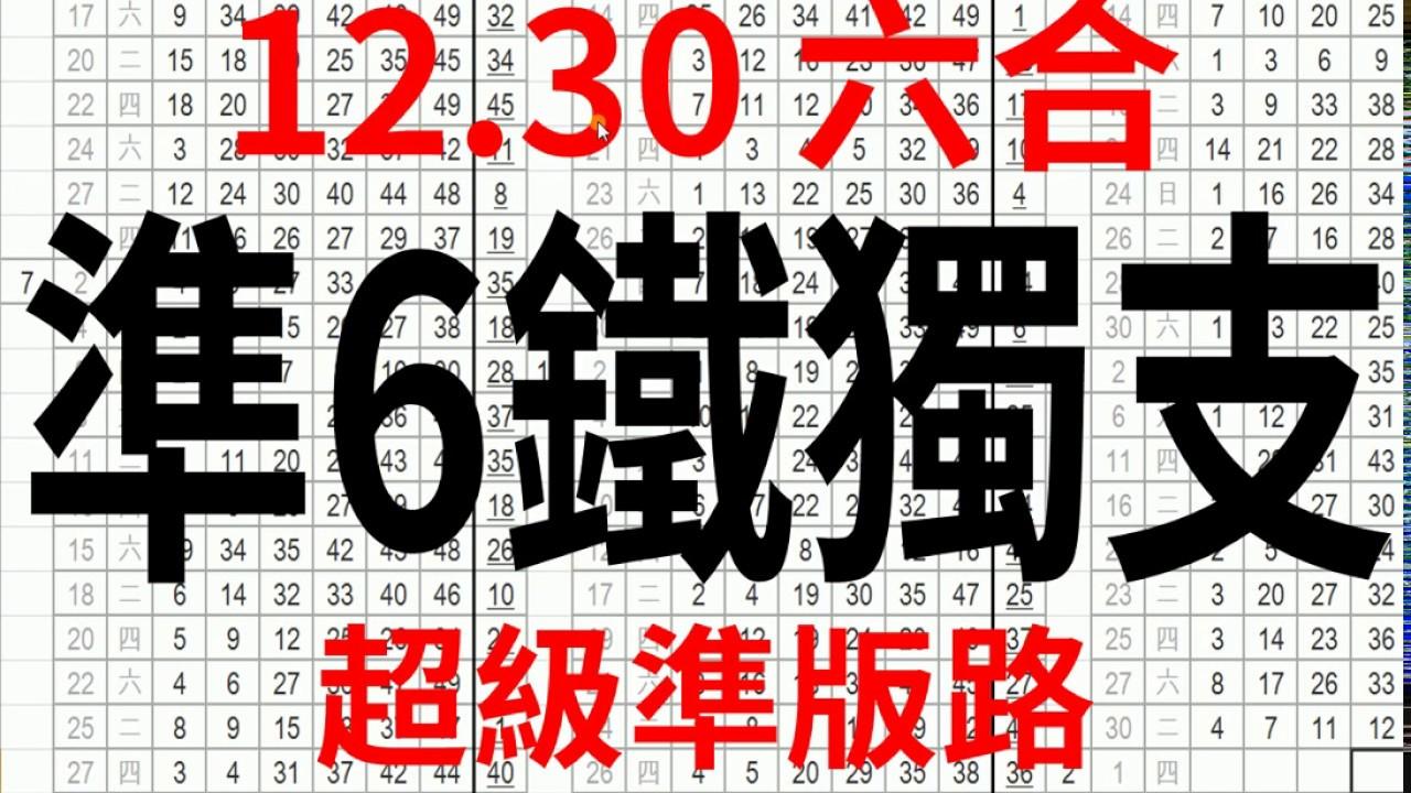 12月30日 上期中01 35 準6鐵獨支 超級準版路 香港六合彩版路號碼預測 【六合彩財神爺】 - YouTube