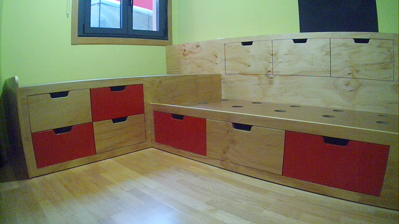 diy childrenus bedroom bed with drawers dormitorio infantil cama con cajones parte