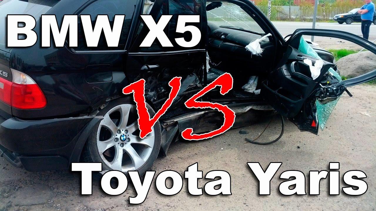 В Орше BMW X5 разнесла Toyota Yaris. In the Orsha, the BMW X5 smashed the Toyota Yaris
