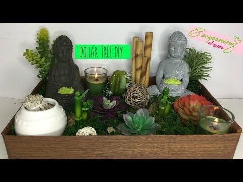DOLLAR TREE DIY ZEN SUCCULENT GARDEN AND WOOD TRAY