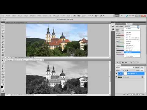 tuto [FR] - photoshop - Convertir en noir et blanc - formation complete