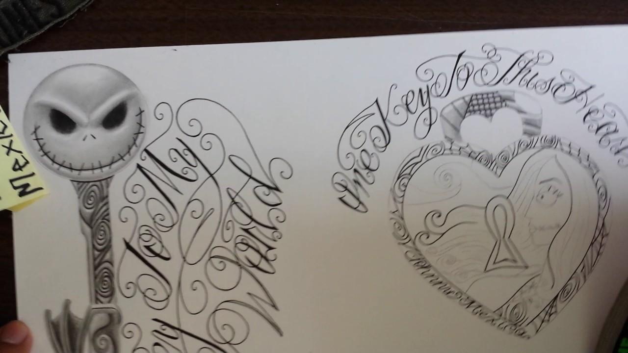 Nightmare before christmas sally heartlock tattoo design - YouTube