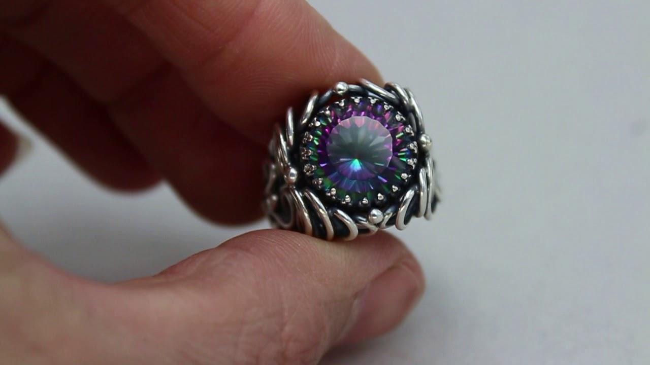 Кольцо оправа серебро 925, вставка мистик топаз - YouTube