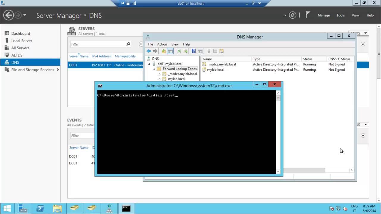 DcDiag a quick health check on Windows Server 2012r2 Domain Controller