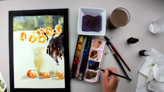 preview sunflower in sunshine watercolor painting with vinita pappas