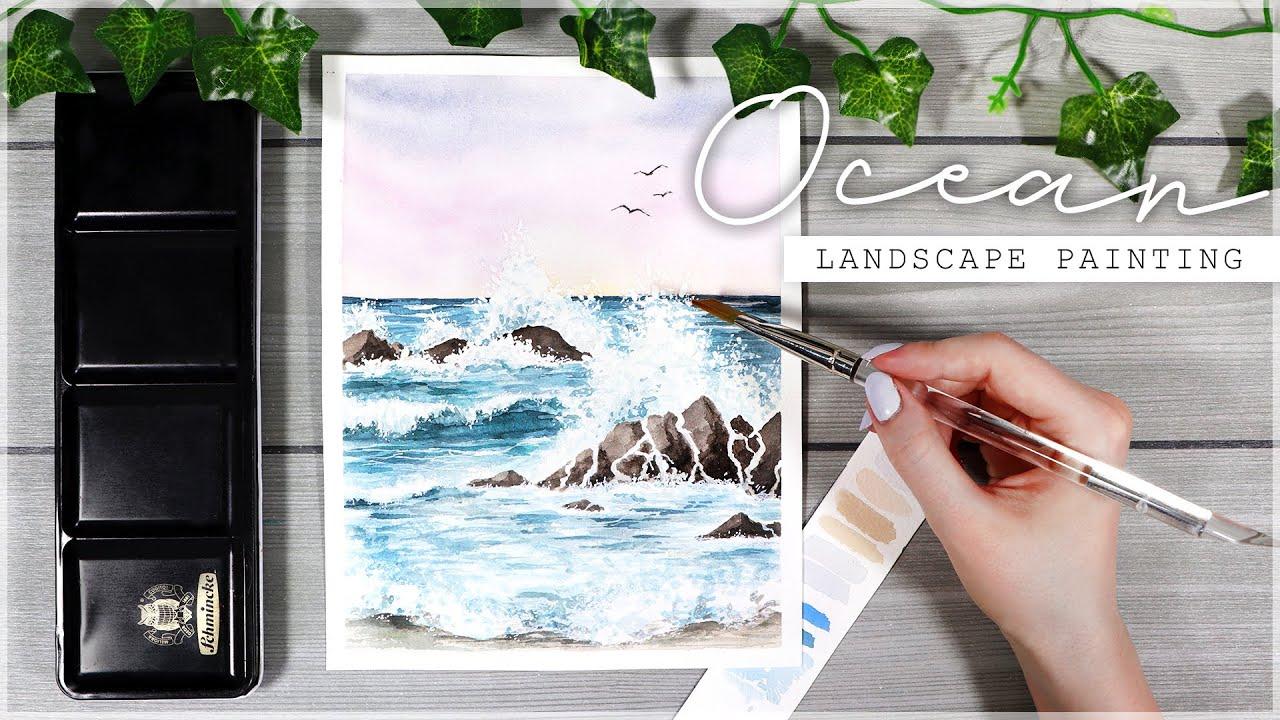 Ocean Painting Tutorial // Paint Water with Watercolors